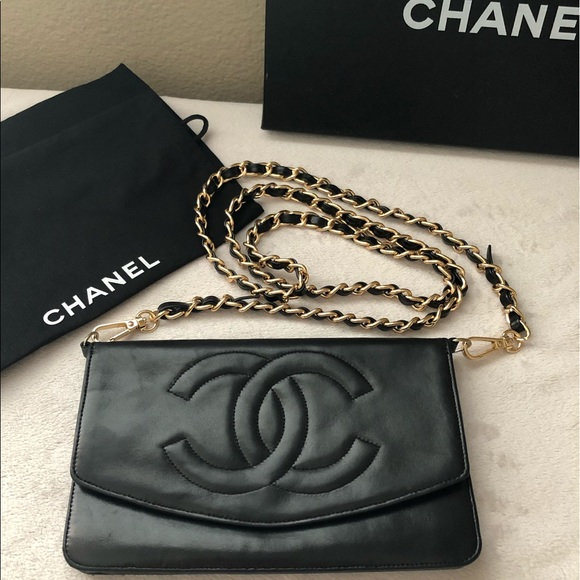 9e9a45a1c070 CHANEL Handbags - CHANEL Timeless Black Leather CC Wallet on Chain